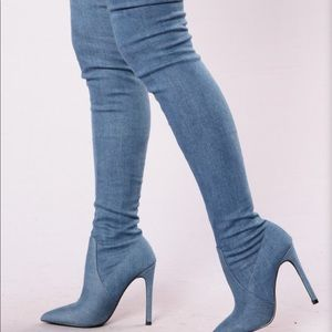 Denim Thigh High Boots